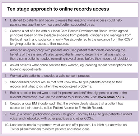 Online medical records 10 stage approach